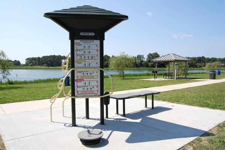 A photo of dog-friendly Mount Trashmore Park in Virginia Beach.