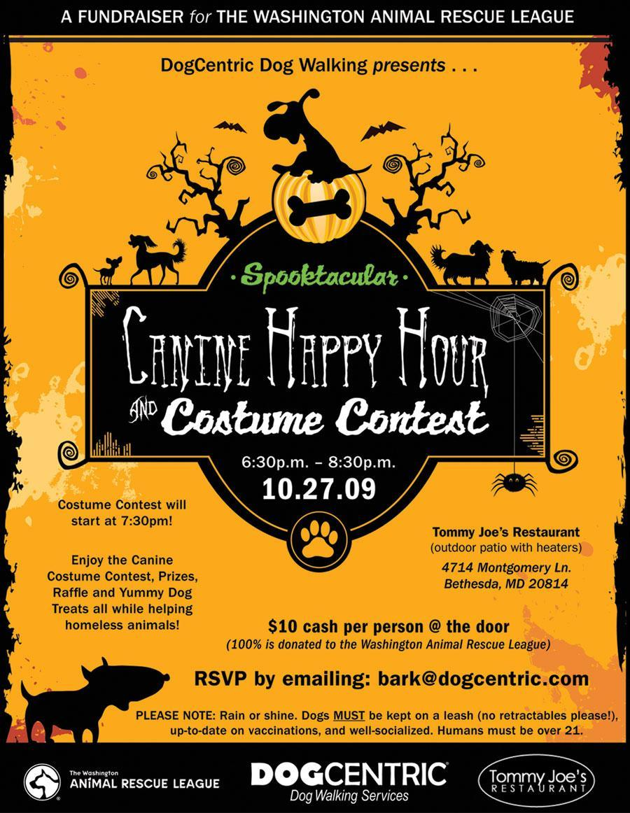 spooktacular canine happy hour and costume contest flyer