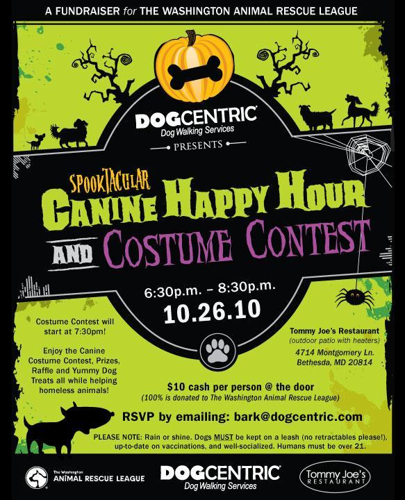 flyer for halloween spooktacular canine happy hour costume contest