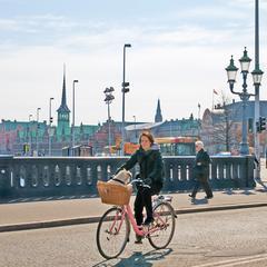 Copenhagen, Denmark. People on the Hojbro Bridge