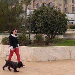 Woman walking dog near casino of Monaco