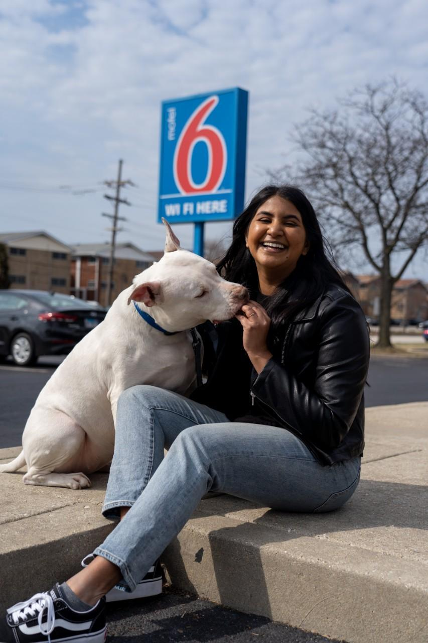 The Motel 6 pet policy welcomes two pets for free.