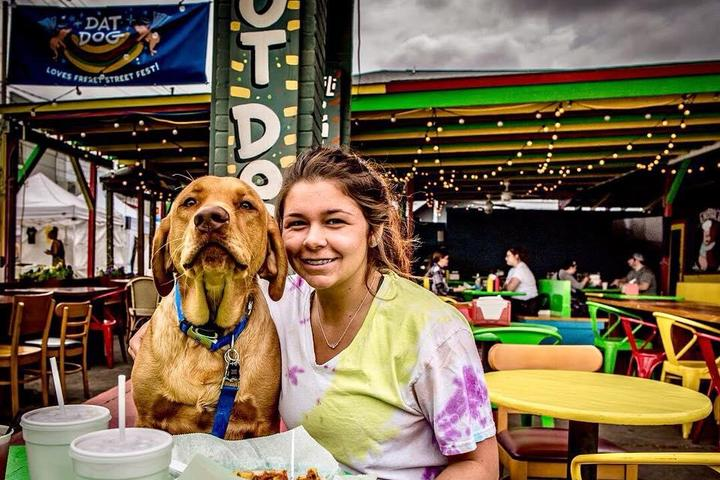 Dat Dog is a popular dog-friendly hot dog stand in New Orleans.
