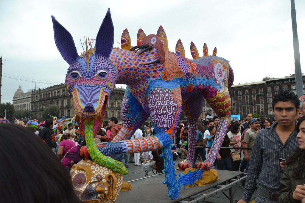 A dog alebrije at Day of the Dead in Mexico City.