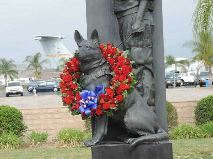 The War Dog Memorial stands prominently at March Field Air Museum in Riverside, CA.