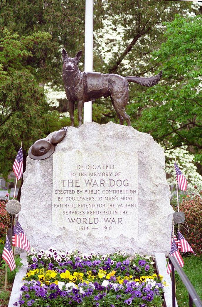 The War Dog Memorial in Hartsdale Pet Cemetery is dedicated to WWI military canines.