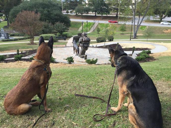 In Columbia's Memorial Park, the South Carolina War Dog Memorial, dedicated on Veterans Day, 2015.