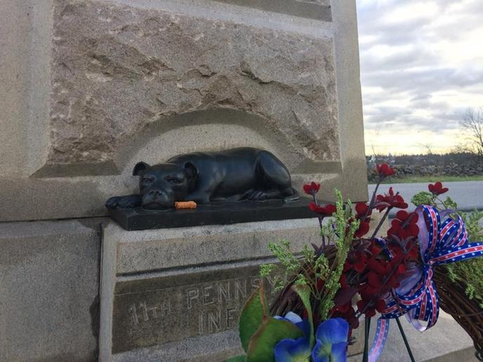 At Gettysburg National Military park lies a memorial to Sallie the Pit Bull, a military working dog.