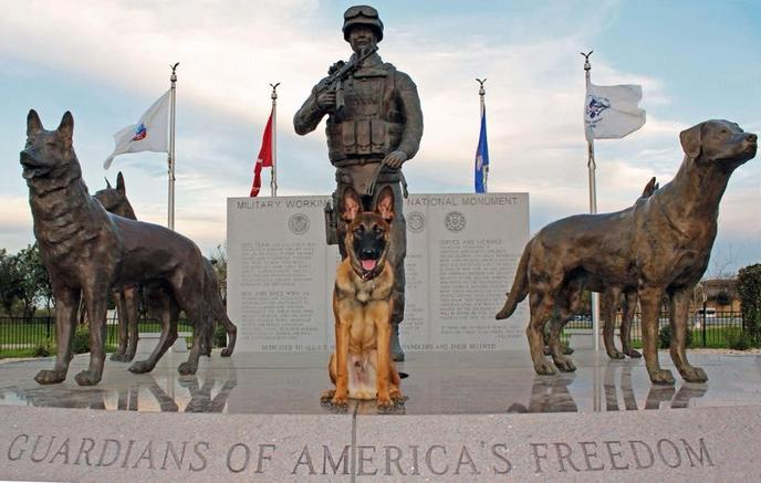 The Military Working Dog Teams National Monument in San Antonio honors military dogs.