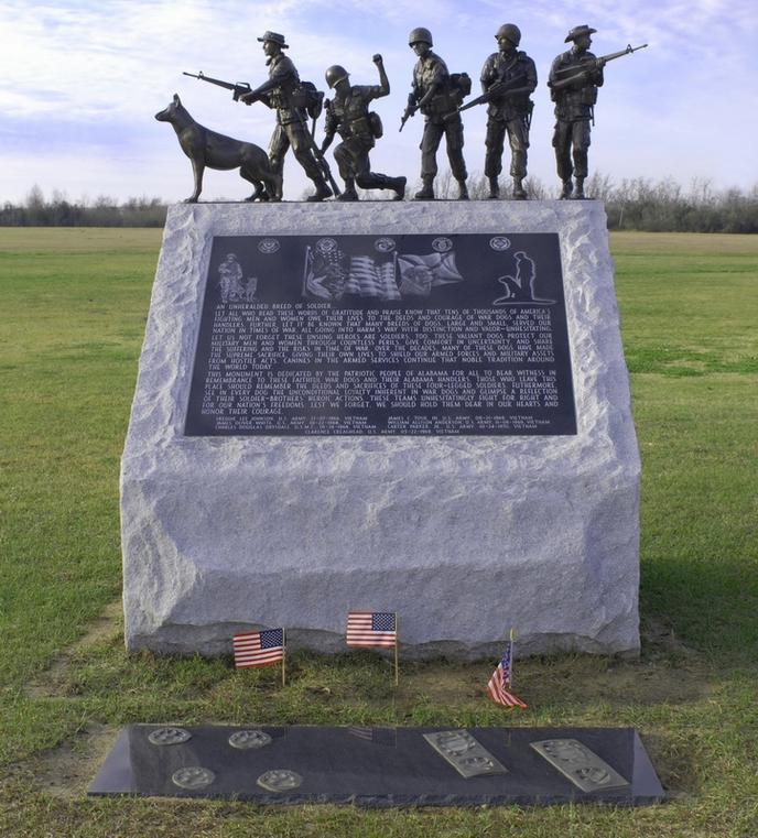 Visit the Service Dog War Memorial located in the USS Alabama Battleship Memorial Park.
