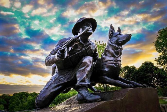 The Military Working Dog Tribute is part of the 155-acre Highground Veterans Memorial Park.