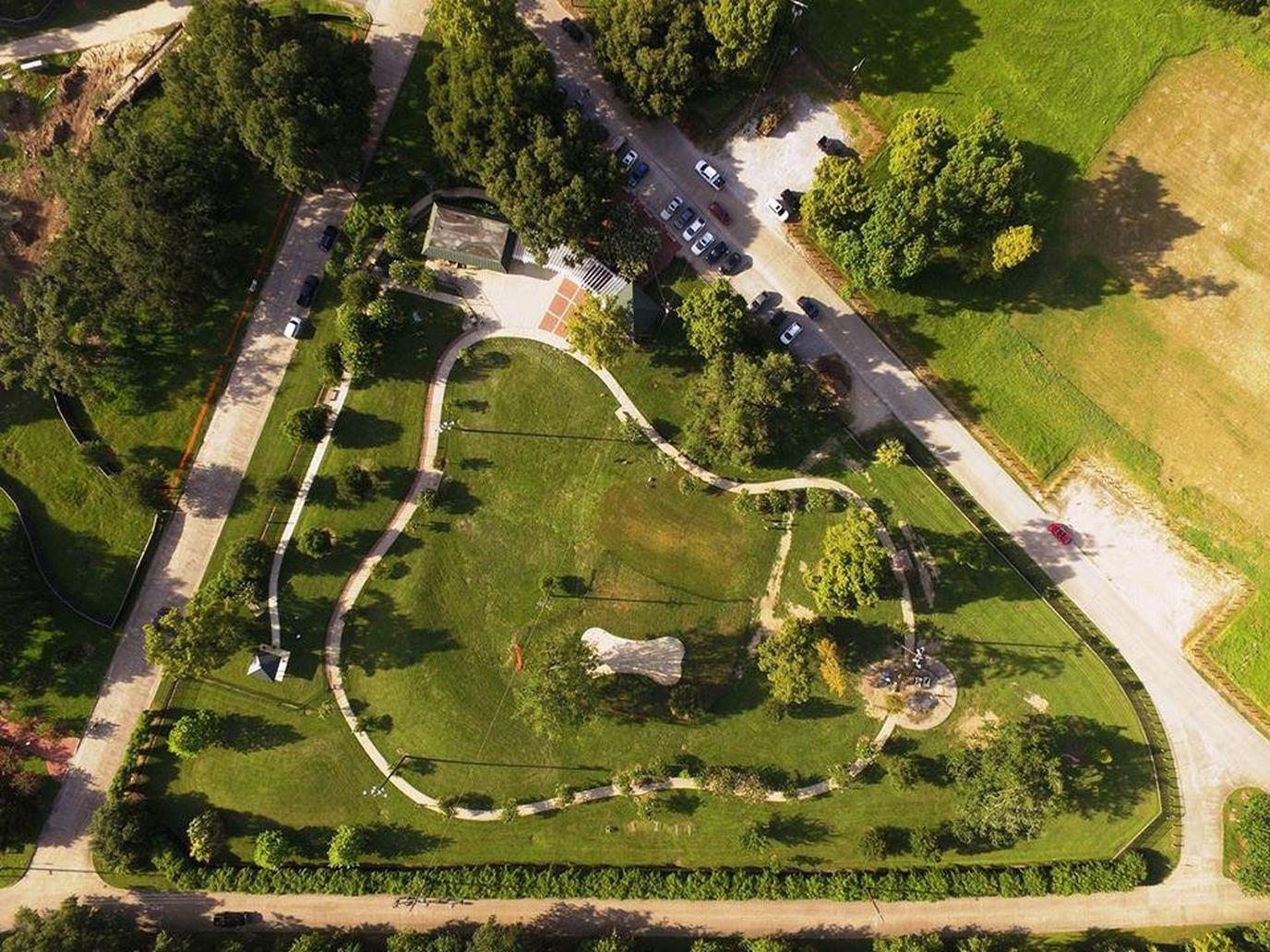 An Aerial Photo of the NOLA City Bark Park in Dog-Friendly New Orleans.