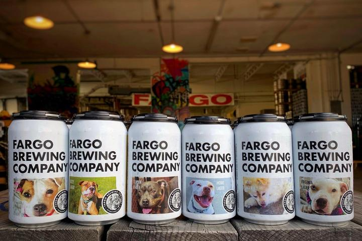 Fargo Brewing Beer Cans Featuring Adoptable Rescue Dogs.
