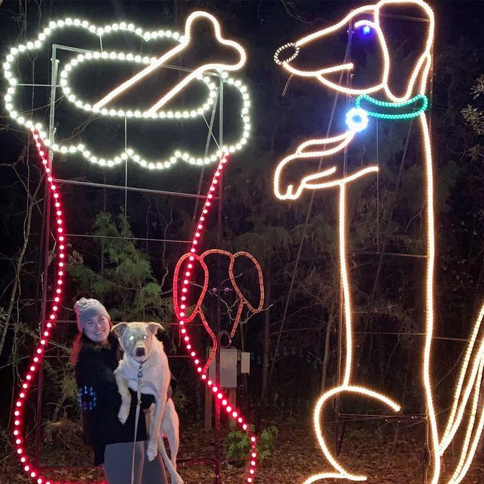 A Woman and Dog Poses With a Giant Dog Light Display at Holiday Festival of Lights.