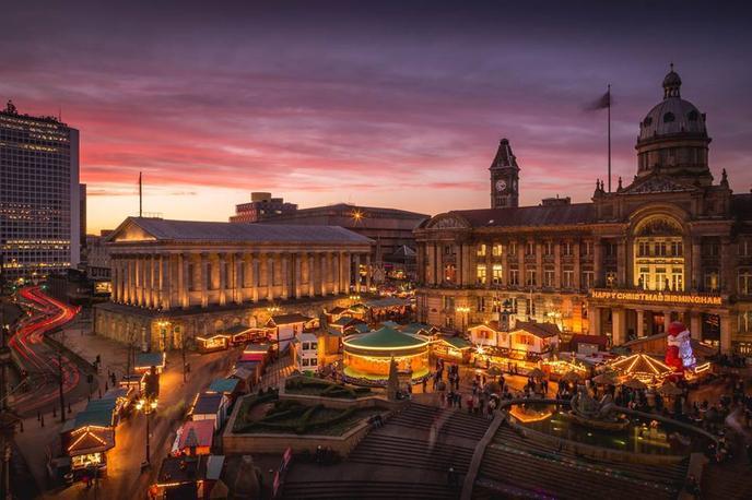 Aerial of the Birmingham's Frankfurt Christmas Market, a Pet-Friendly Christmas Market in England.