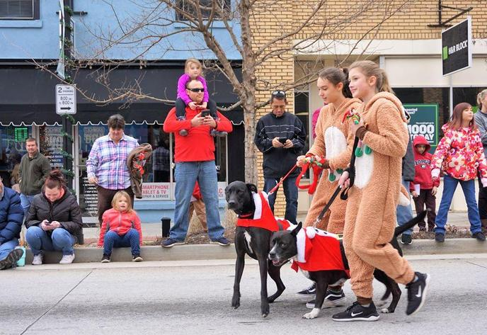 Two Girls in Reindeer Costumes Walk Dogs Dressed as Santa While Walking in a Pet Parade in Winder.