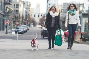 Two Women and a Dog Walk After Shopping for Black Friday Deals for Dogs.