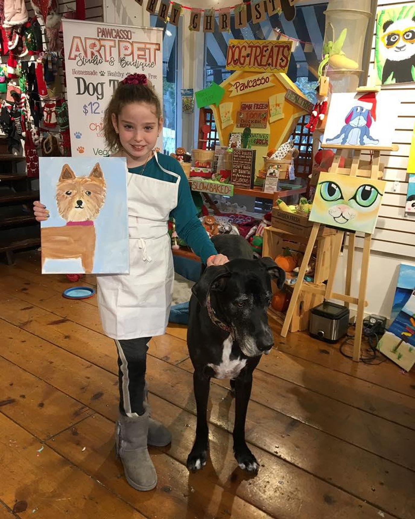 Pawcasso Art Studio and Pet Boutique in Westhampton Beach, NY invites people to paint with their pet