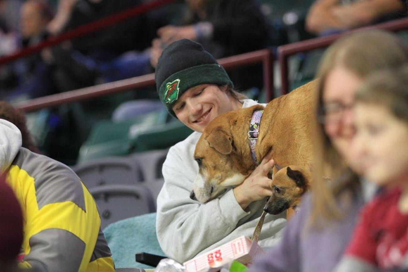 A Man Hugs His Dog in His Seat at a Dog-Friendly Hockey Game in Illinois.