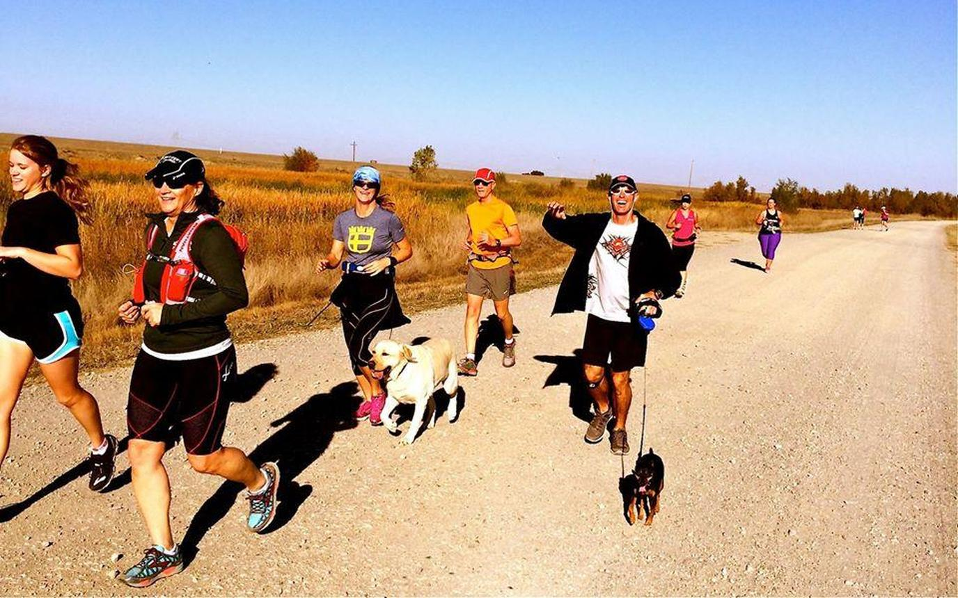 A Group of People Run With Their Dogs During a Pet-Friendly Spring Run in Folsom.