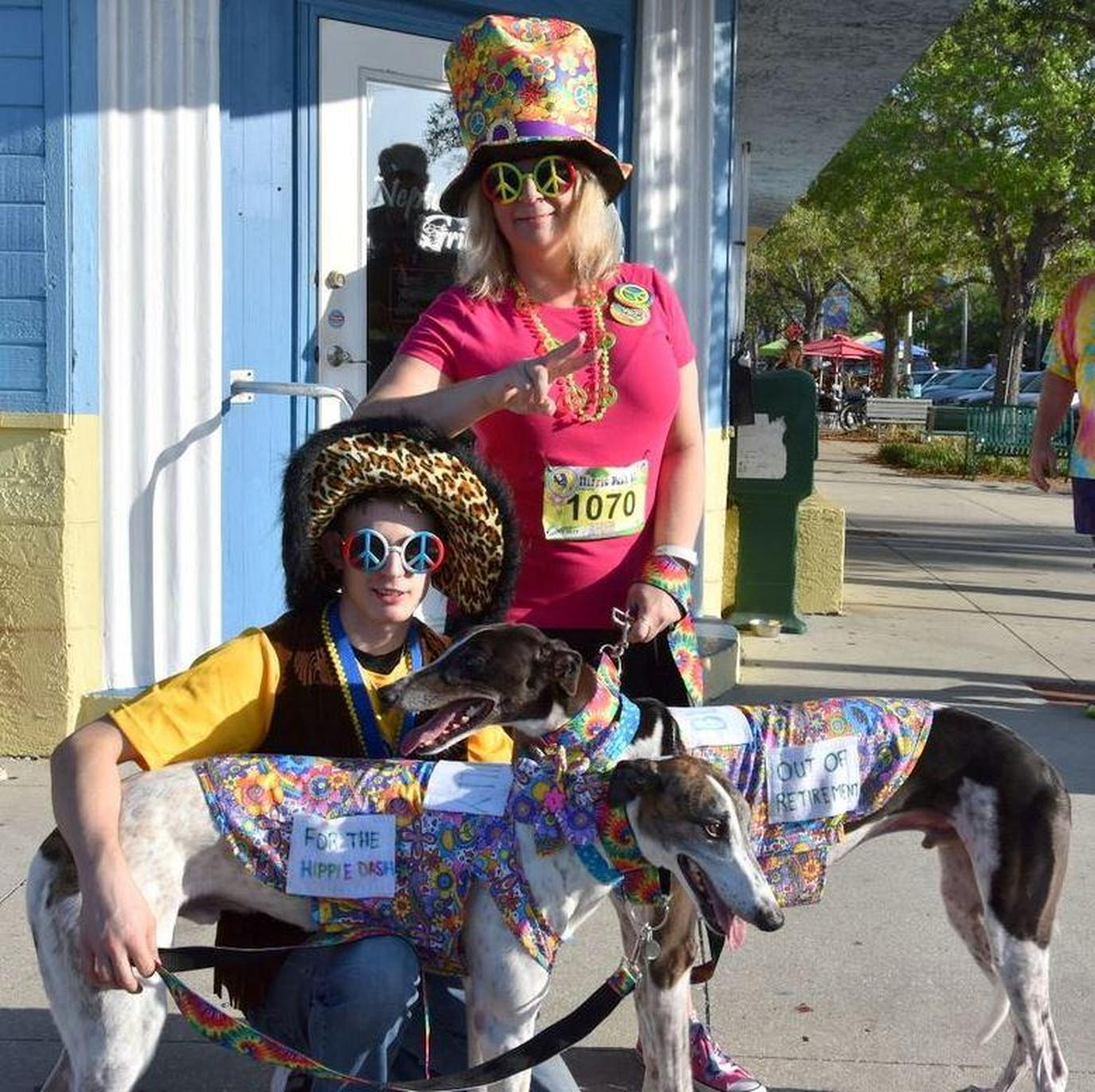 A Woman, Boy, and Two GreyHounds Dress in Hippie Costumes For a Pet-Friendly Spring Run in Florida.