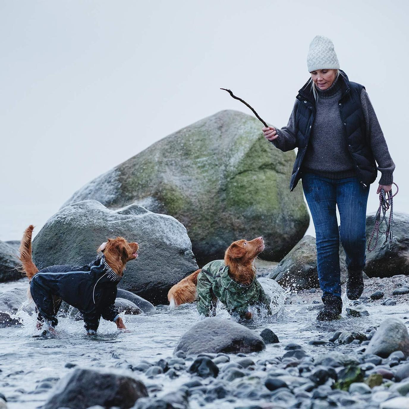 A Woman Plays in the Water With Two Pups Wearing Rain Gear for Dogs.
