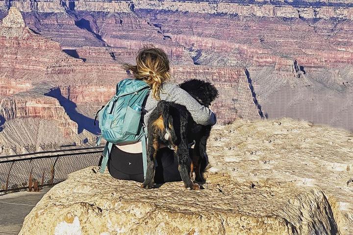 A dog and his human visit Grand Canyon National Park