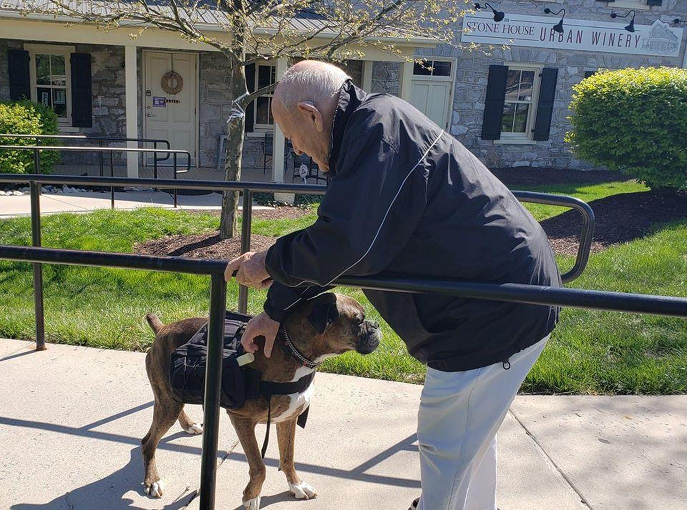 A Senior Citizen Pets Soda Pup the Wine Delivery Dog.