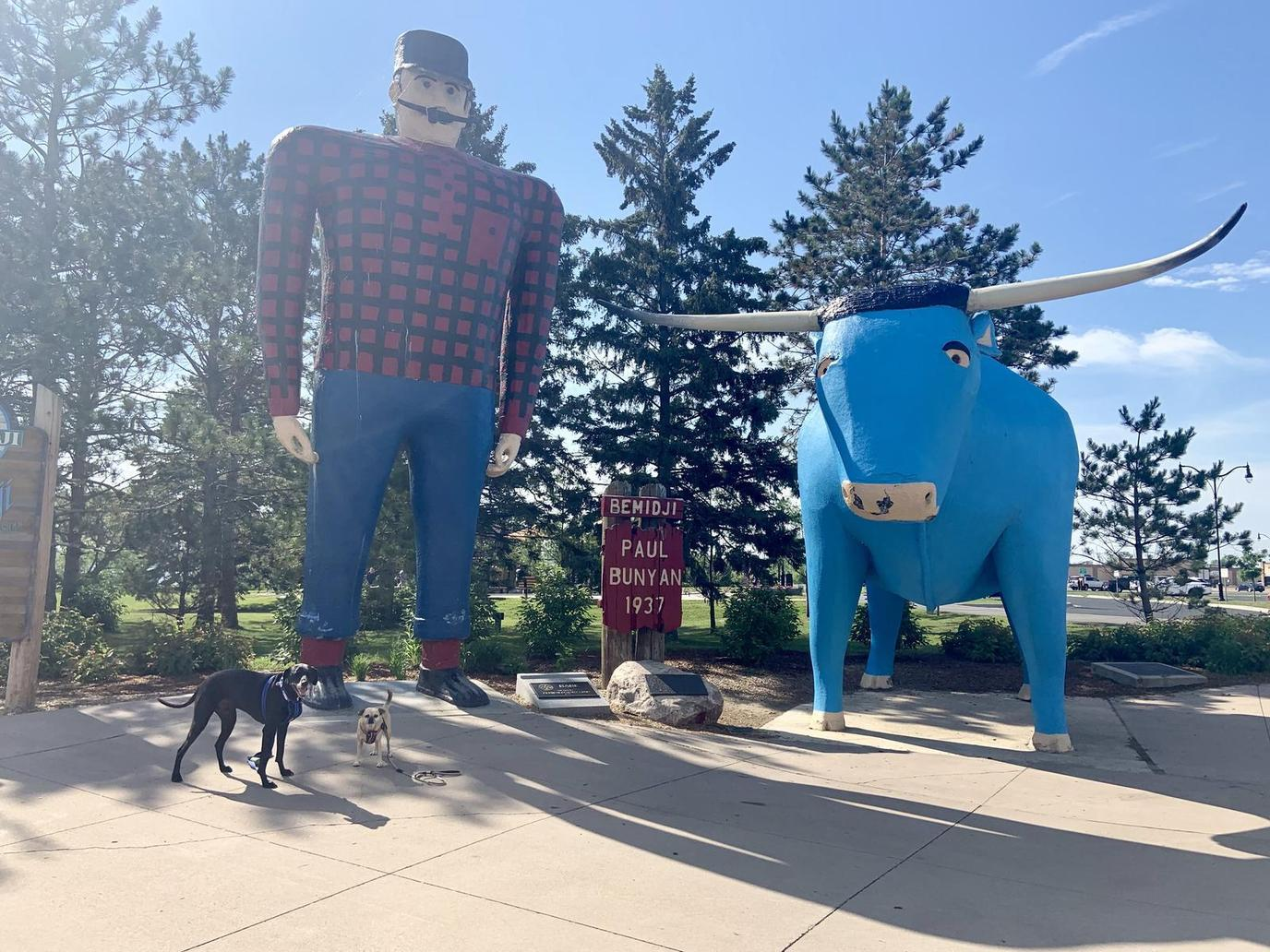 two dogs enjoying at Paul Bunyan and Babe the Blue Ox in Bemidji,