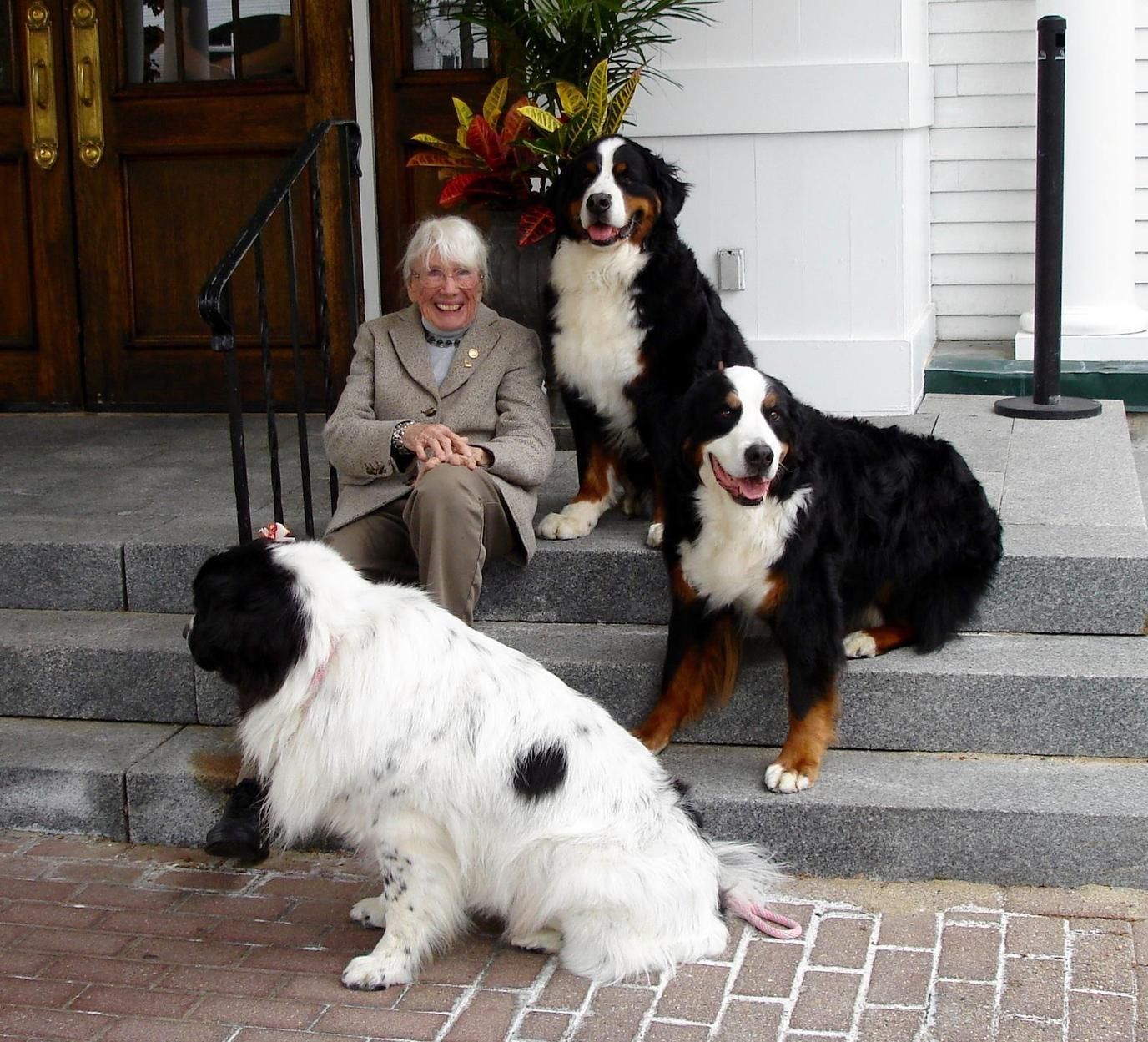 A grandmother alongside her dogs at the Harraseeket Inn