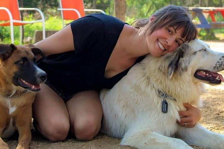 A woman with her dogs at a popular dog park.