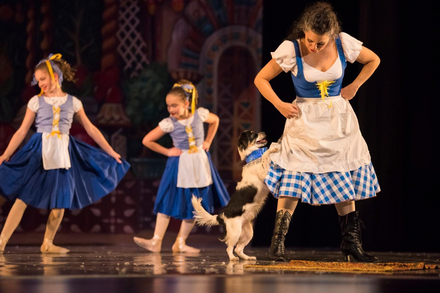 A dog dances with three ballet dances in blue and white dresses.