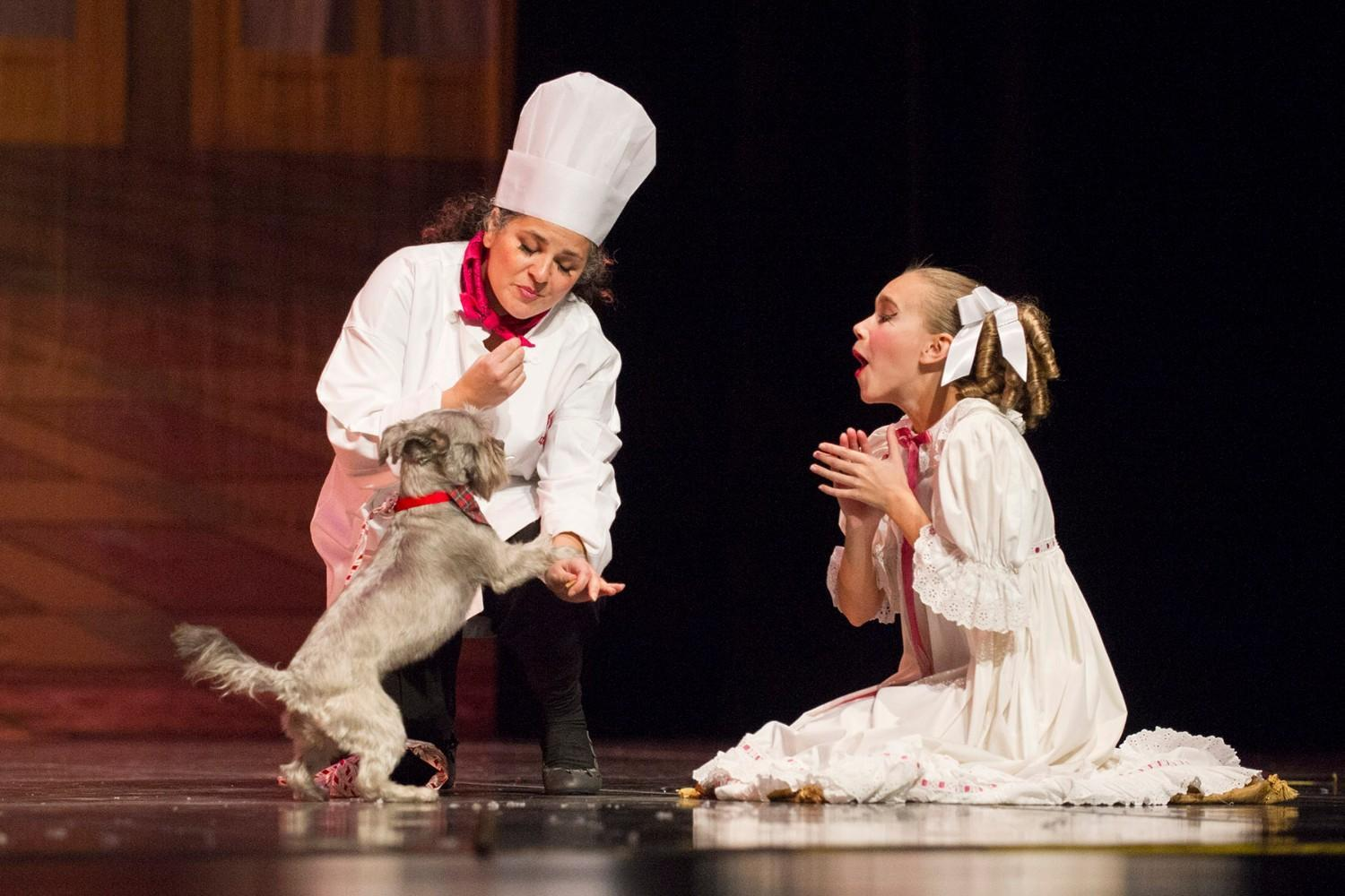 A dog shares the stage with ballet dances during the Mutt-cracker.