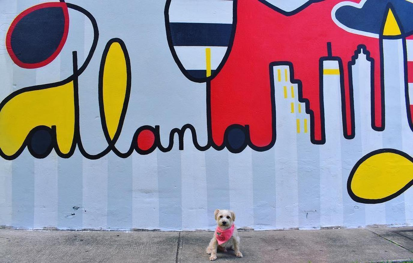 Posing in front of The BeltLine wall mural in Atlanta.